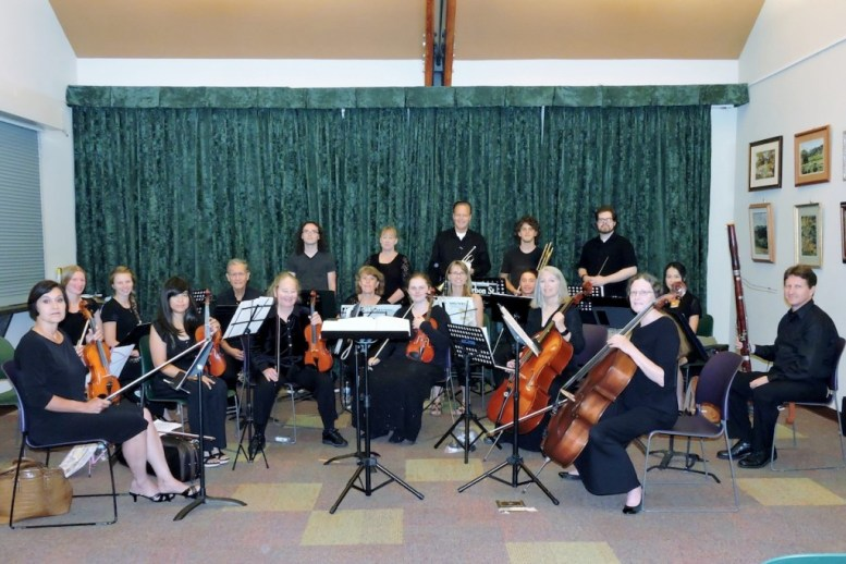 Presenting your Valley Center Symphony: Left to right, front row (strings): Diane Wynn, Rowena Pasamonte, Susan Barber, Shayna Barber, Susan Padilla, Carl Mellor. Second row (woodwinds left to right): Sydney Park, Riley McCarrick, Ed Labrado, Karen Rockwell, Donanne Cummings, Jonathan Pasamonte, Miyuki Watanabi (piano), Leo McNamara. Back row left to right(brass and percussion),  Mason Hock, Linda McNamara, Keith Larson, Bradley Pettit, Matthew Owensby (conductor).