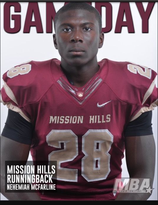 Mission Hills star running back Nehemiah McFarline