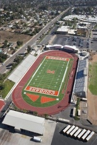 Aerial shot of Escondido High School football field.