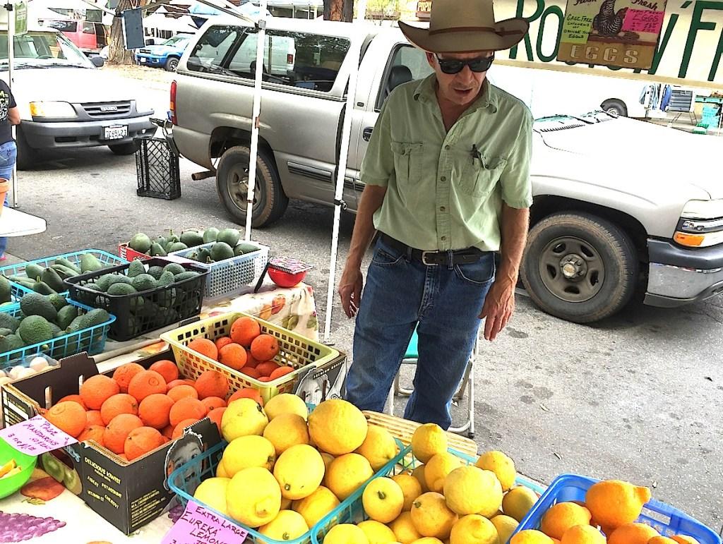 Robert Meyers of Roots N' Fruits at Escondido Farmer's Market last week