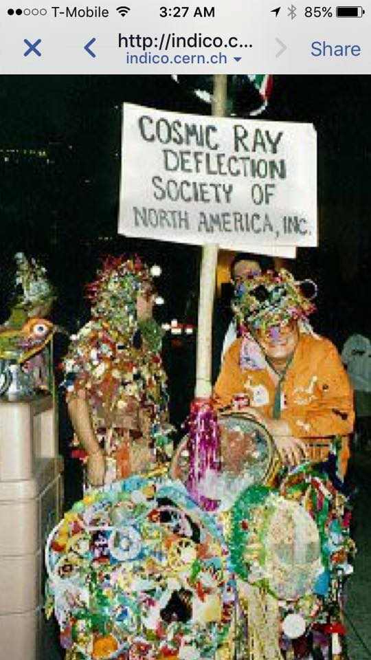 Also Aswell and Curtis Cottrell in full cosmic ray suits and deflecting shopping cart c. 1996 in NOLA.