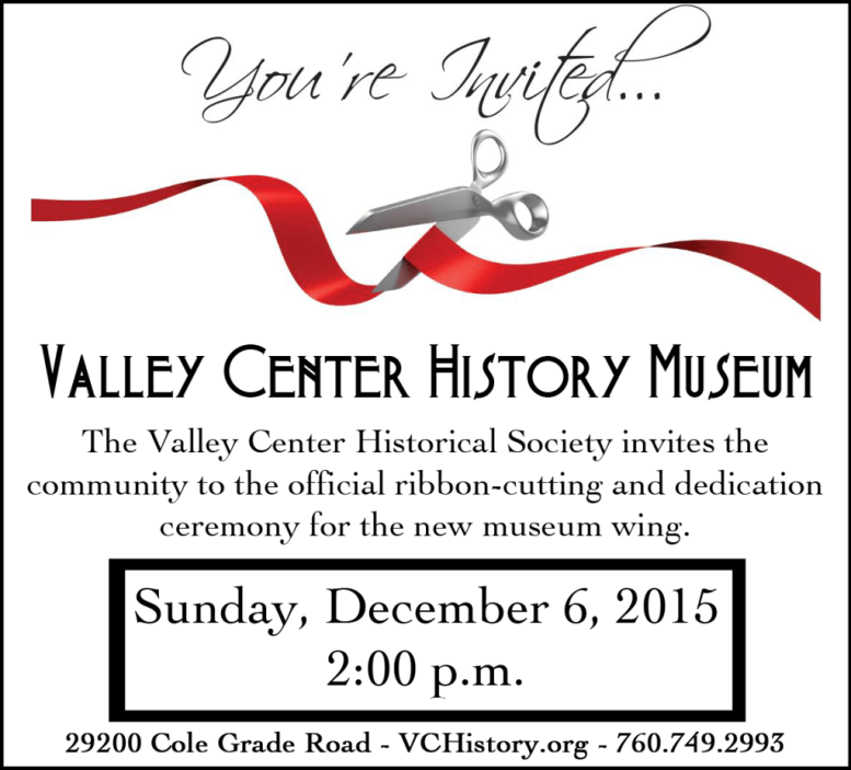 Valley Center Historical Society dedicates new wing on Dec. 6