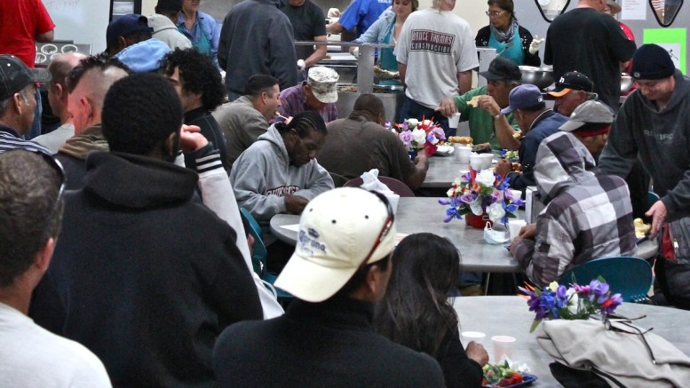 Interfaith community Services serving lunch to the homeless.