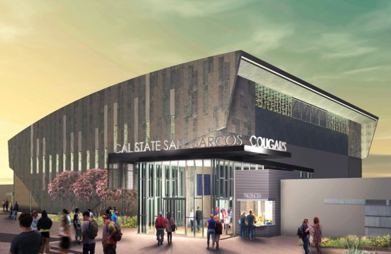 An architectural rendering shows how the completed Cal State San Marcos Sports Center will likely look. (Courtesy photo)