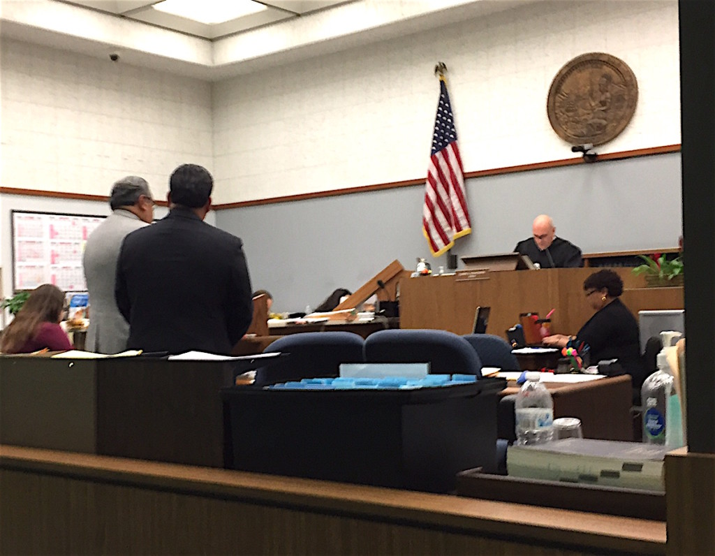 Jose Fragozo, right, his attorney Manuel Torres before Superior Court Judge William Gentry Jr.