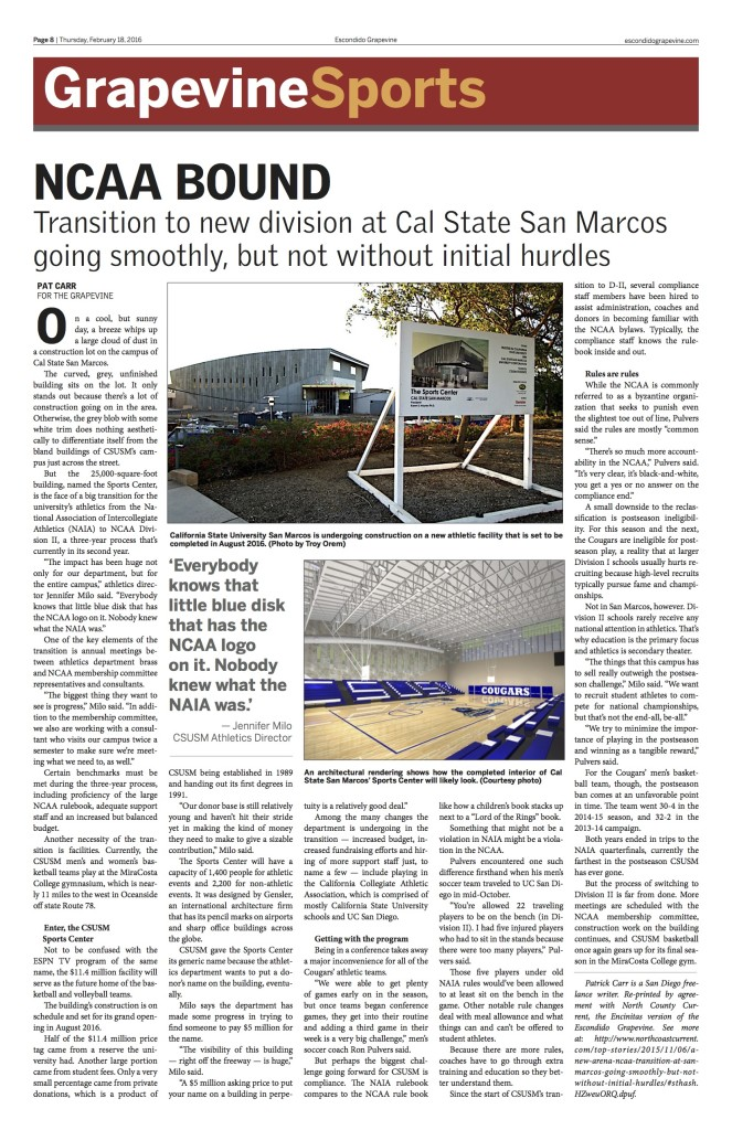 We also print a newspaper supplementing our cutting edge online presence: Page 8 of the Feb. 18 Escondido Grapevine