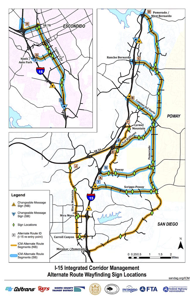 Meet what transportation officials term I-15 Integrated Corridor Management Alternate Route Wayfinding Sign Locations.