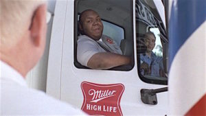 Scene from Miller High Life Super Bowl commercial. (screenshot)