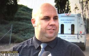 Escondido police Lt. Ed Varso briefing reporters. (CW6 screen shot)