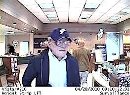 Geezer Bandit robbing California Bank & Trust in Vista, April 20, 2010.