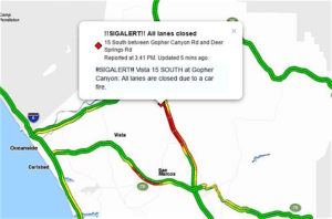This screenshot of a map from the Sig Alert website shows traffic slowing around 3:45 p.m. Monday.