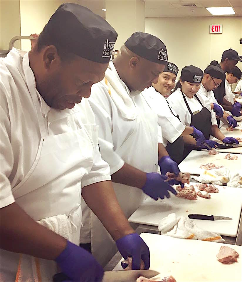 Kitchens For Good workers prepare healthy feasts for the people.