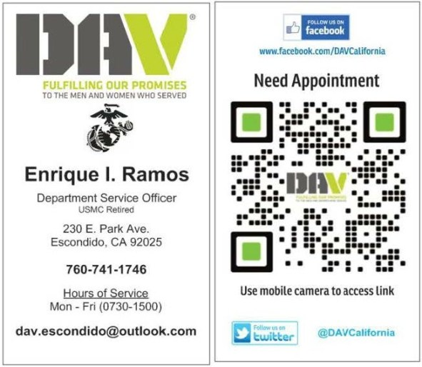 DAV Business Card for Enrique I. Ramos Department Service Officer
