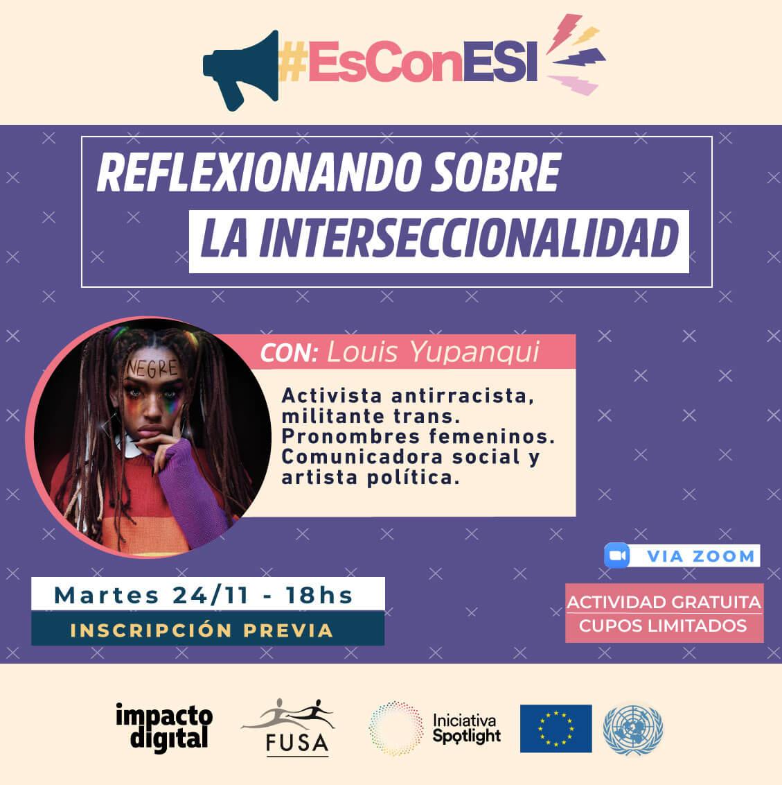 Flyer de Taller Reflexionando sobre la interseccionalidad