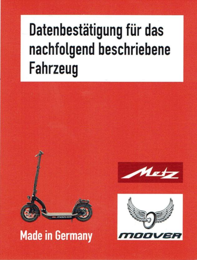 Datenbestaetigung Metz Moover Fahrzeugschein 1