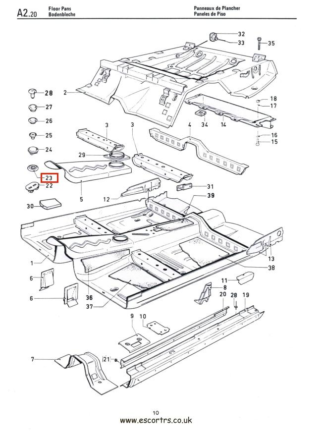 Floor Grommets x 10 Mk1 & Mk2 Escort RS2000 Mexico RS1600