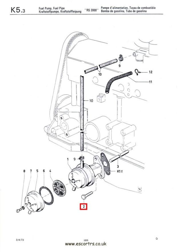 Fuel Pump Bolts Mk1 & Mk2 Escort RS 2000 Mexico Twin Cam