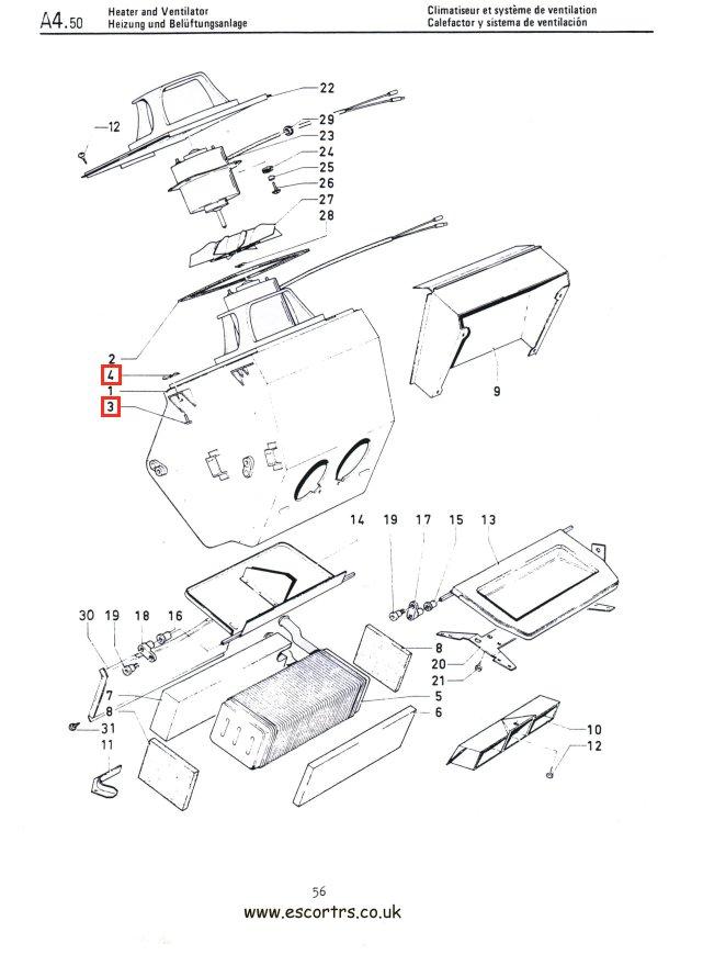 Heater Box Clip Set Mk1 & Mk2 Escort RS2000 Mexico Twin