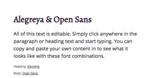 claves de Diseño Web - Combinacion serif Alegreya con sans serif Open Sans