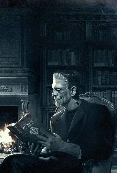 """El monstruo de Frankenstein leyendo """"El Quijote""""."""