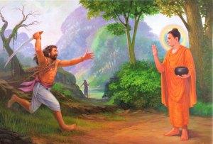 Representación del Buda en su encuentro con el asesino Angulimala