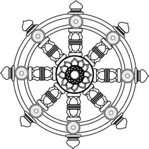 Rueda del Dhamma; se dice que las puntas representan al Octuple Sendero