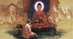 Maha Pajapati Gotami solicitando permiso al Buda para establecer la orden de monjas (Bhikkhuni Sasana)