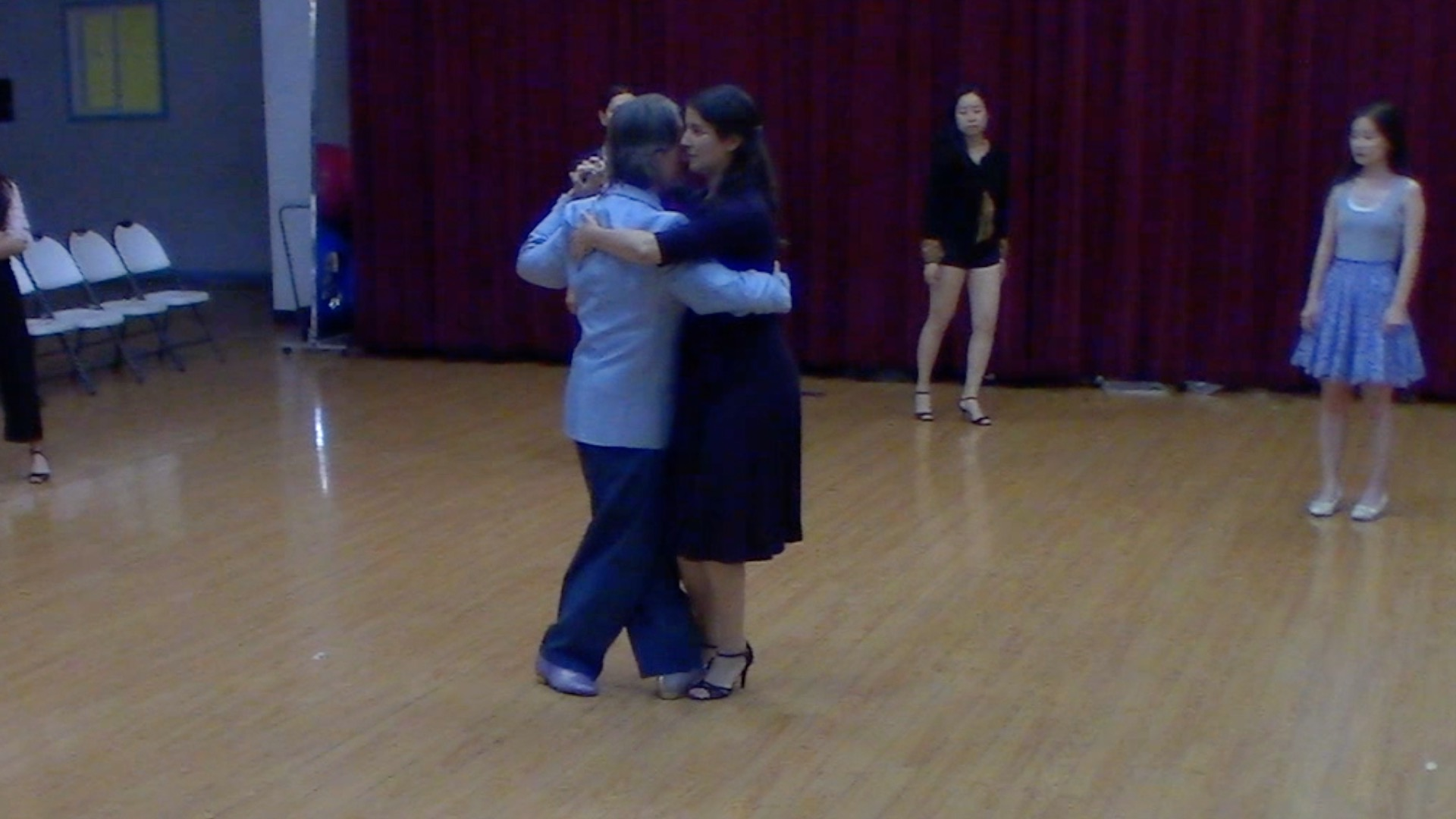 Argentine Tango Dancing with Mimi at beginner's class in San Jose, California, September 2019