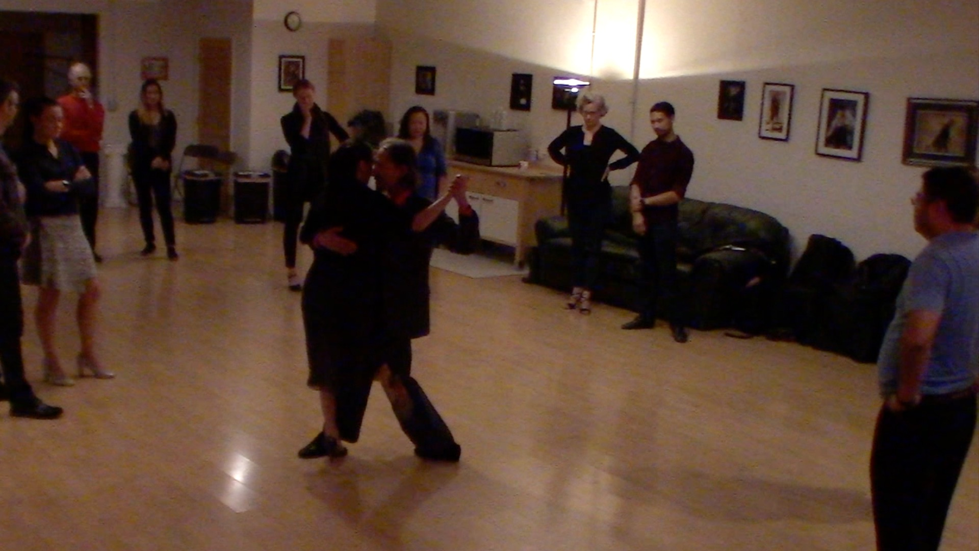 Argentine Tango dancing with Miranda at our beginner's class in San Francisco, October 2019