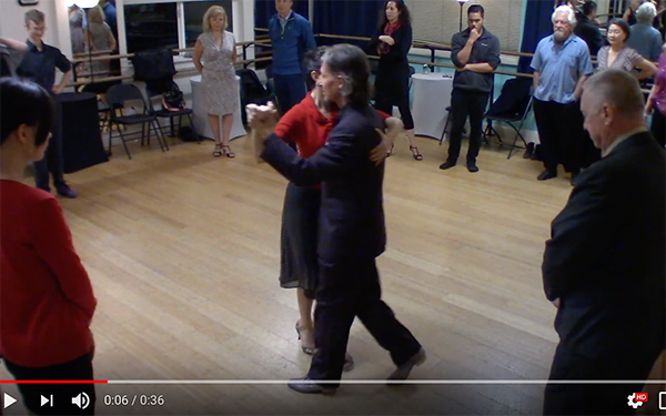 Argentine Tango intermediate class with Miranda_ walking outside partner in circles combined
