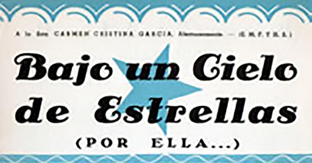 """""""Bajo un cielo de estrellas"""", Argentine Tango music sheet cover."""