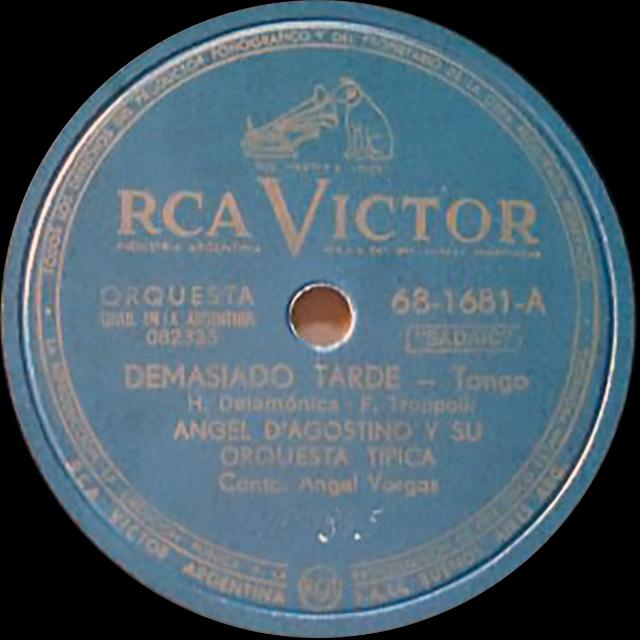 """Demasiado tarde"", Argentine Tango vinyl disc."