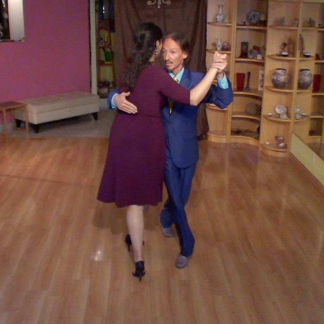 Marcelo Solis & Mimi dancing milonga at a their Argentine Tango class.