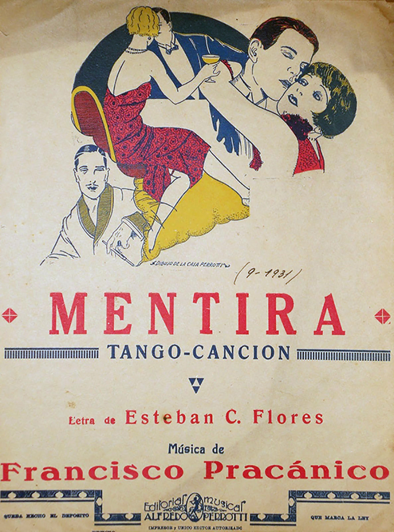 """Mentira"", Argentine Tango from Francisco Pracánico. Music sheet cover."