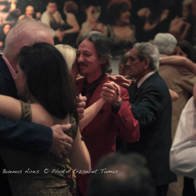 Marcelo Solis dancing Argentine Tango at a milonga in Buenos Aires.