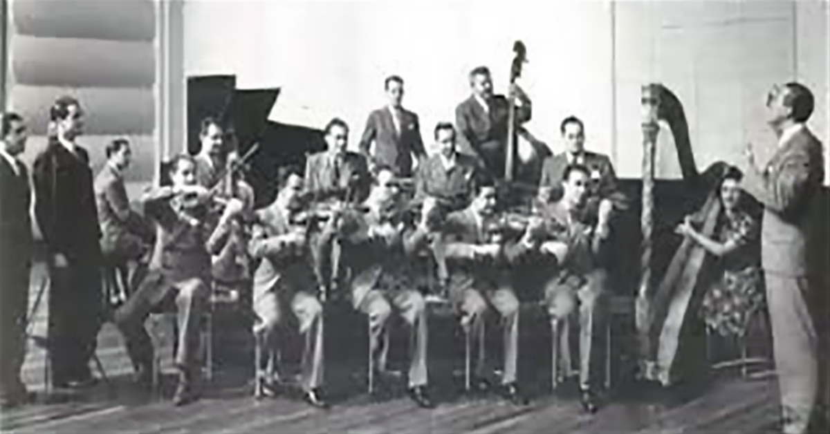Osvaldo Fresedo, Argentine Tango musician, leader and composer, with his orchestra.