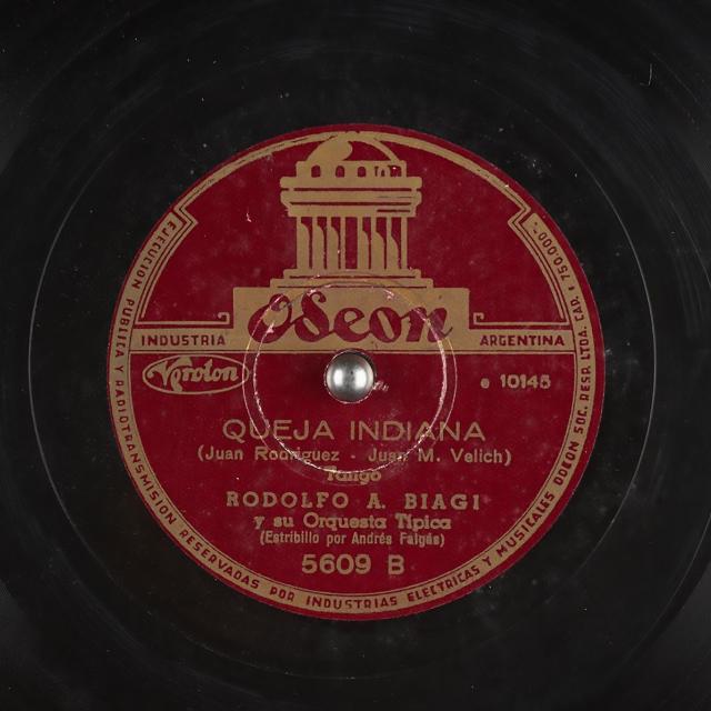 """""""Queja indiana"""" by Rodolfo Biagi with Andrés Falgás in vocals, vinyl disc."""