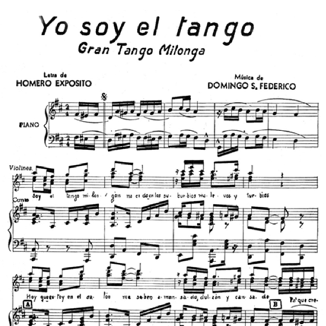 """Yo soy el Tango"", Argentine Tango music sheet."