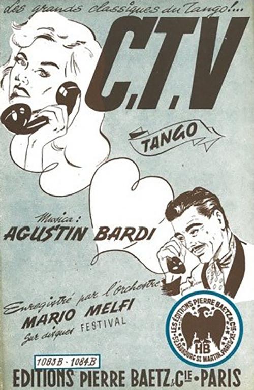 """""""C.T.V."""" music sheet cover. Agustín Bardi"""