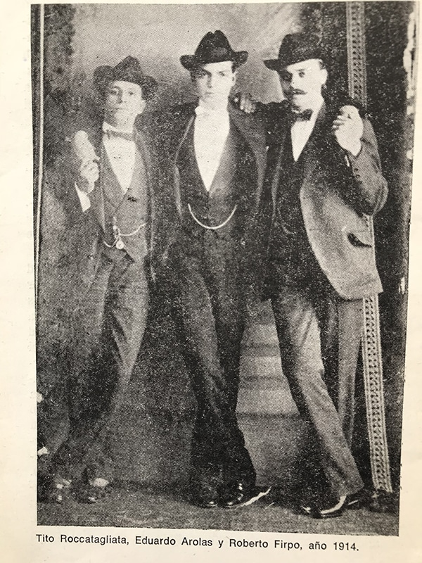 Eduardo Arolas, Tito Roccatagliatta and Roberto Firpo, 1914. History of Tango by Marcelo Solios. Escuela de Tango de Buenos Aires.