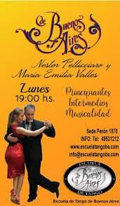 Nestor Pellicciaro & Maria Emilia Valles. Escuela de Tango de Buenos Aires. Beginners, intermediates, musicality.
