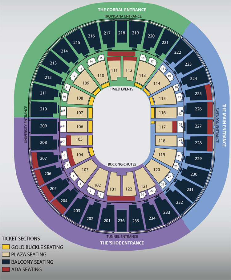 At T Center Seating Chart With Rows : center, seating, chart, Rodeo, Seating, Guide, ESeats.com