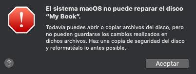 El sistema macOS no puede reparar el disco My Book