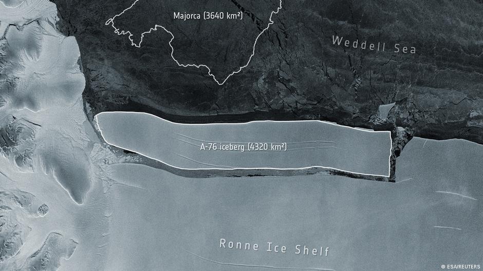 O maior iceberg do mundo está à deriva na Antártica.