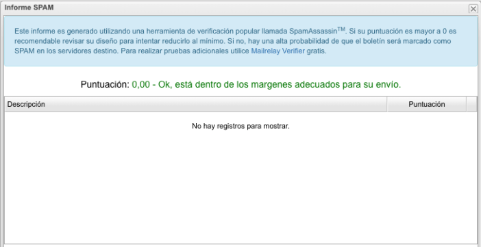ejemplo informe spam Mailrelay