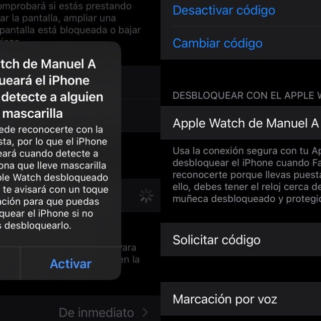 Desbloquear el iPhone con mascarilla y Apple Watch