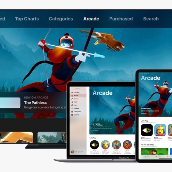 Imagen promocional de Apple Arcade, mostrando un iPhone, un iPad, un Apple TV y un Macbook