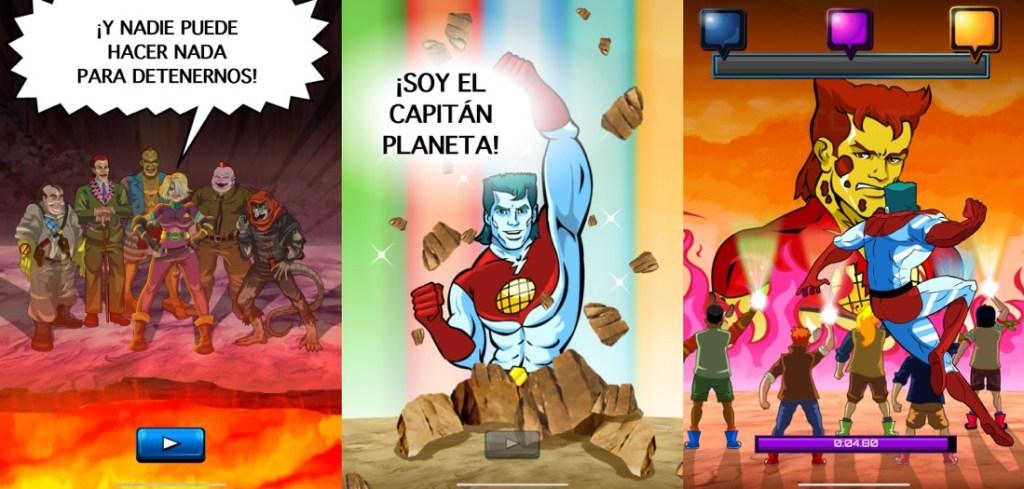 """Tres capturas juntas horizontalmente del juego Capitán Planeta en iPad. Se muestras varios personajes de la serie animada, como los malos, los 5 planetarios o el propio Capitán planeta en la imagen central con su mítica frase: """"Soy el Capitán Planeta"""""""