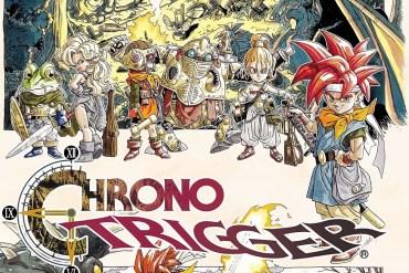 Imagen promocional de Chrono Trigger, donde aparece el logo del juego, a su lado el protagonista y detrás varios de los personajes que nos encontraremos durante la aventura, todo con un estilo gráfico muy manga.
