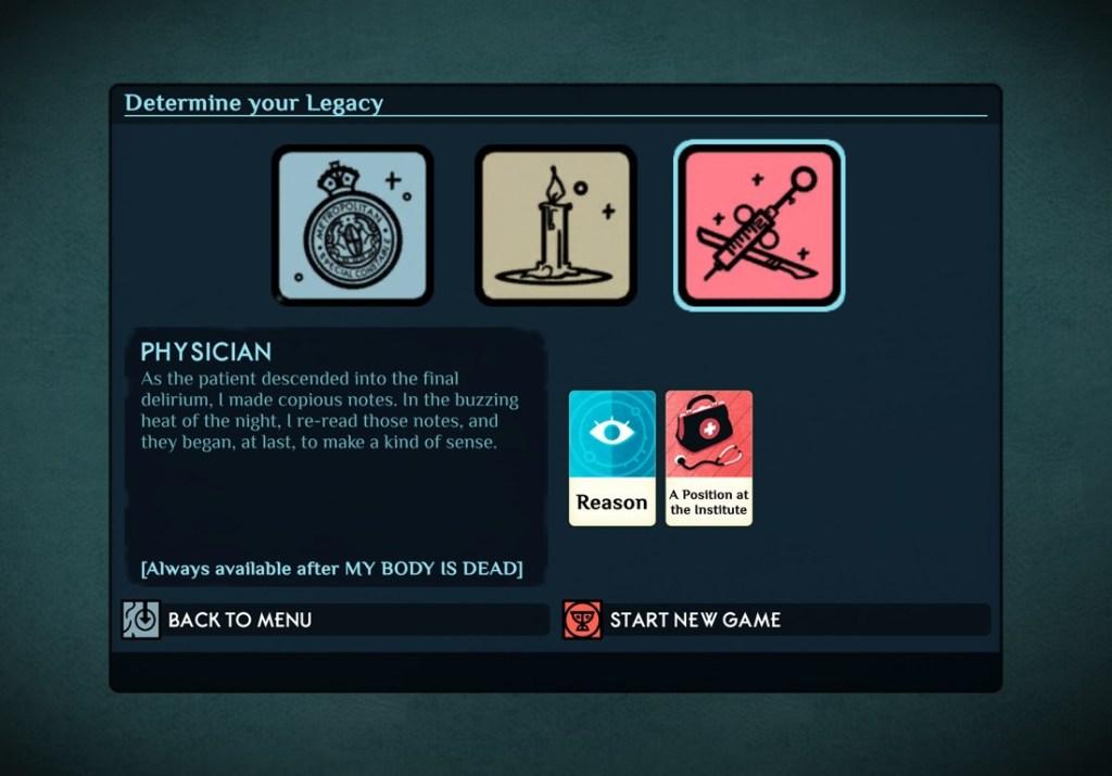 Pantalla de juego de Cultist Simulator en iPad, donde podemos escoger el legado del nuevo descendiente al empezar una partida nueva.
